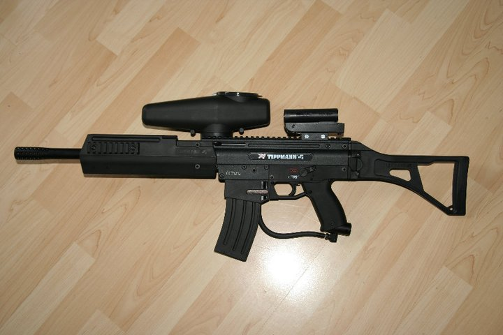 Scarpz Paintball - Tippmann X7 - G36 - Gun Marker Black Hopper Cyclone Feed M4 Mag Magazine HPA Stock Green Laser Best Cool Great Awesome Photo Image Pic HD